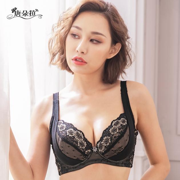 台灣製C.D.E.F大罩杯。浪漫蕾絲 外月牙提拉 舒適軟杯 調整型 包覆-黑色32.34.36.38.40.42(7102)-唐朵拉 3