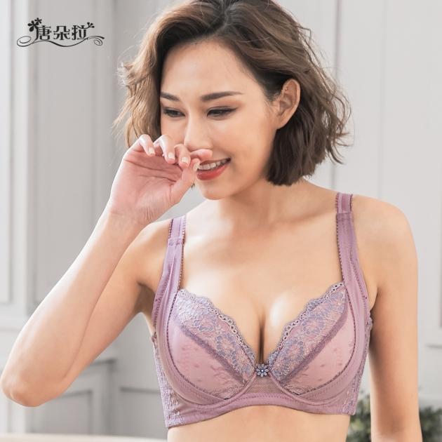 台灣製C.D.E.F大罩杯。浪漫蕾絲 外月牙提拉 舒適軟杯 調整型 包覆-芋色32.34.36.38.40.42(7102)-唐朵拉 4