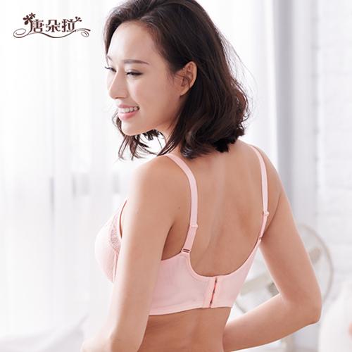 台灣製細緻花朵蕾絲軟鋼圈內衣 性感深V蕾絲 /機能型/內衣內褲-粉柑色 32.34.36.38 B.C(7093)-唐朵拉 4