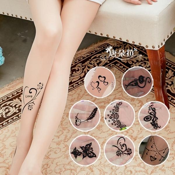 【 唐朵拉 】 多款日韓熱銷植絨燙鑽絲襪 刺青絲襪/花紋襪/刺青紋身透明絲襪(276) 1
