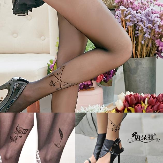 【 唐朵拉 】 多款日韓熱銷植絨燙鑽絲襪 刺青絲襪/花紋襪/刺青紋身透明絲襪(276) 5