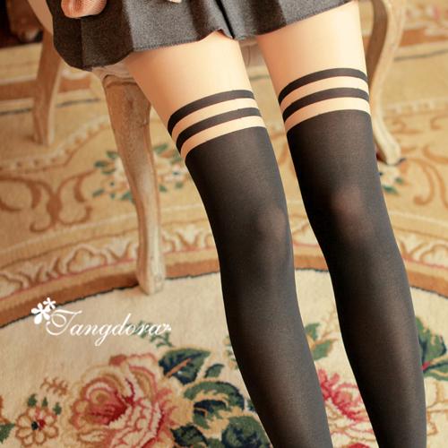 唐朵拉 熱銷日版韓系甜美清新氣質修飾美腿超顯瘦透氣輕薄膝上假大腿高捷少女貼身褲襪 (205) 1