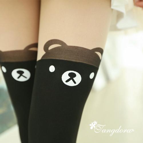 唐朵拉熱銷日版韓系修飾美腿超顯瘦透氣輕薄甜美可愛小熊過膝上假大腿高捷少女貼身褲襪 (210) 1