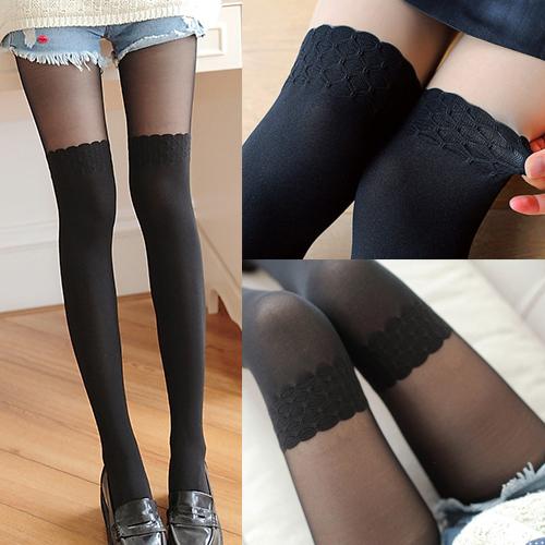 唐朵拉 熱銷日版韓系蕾絲雕花修飾美腿超顯瘦透氣輕薄膝上假大腿高捷少女貼身褲襪 (215) 1