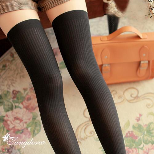 唐朵拉 熱銷日版韓系上平版下條紋修飾美腿超顯瘦透氣輕薄膝上假大腿高捷少女貼身褲襪 (216) 1