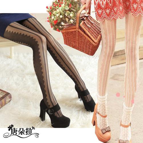 唐朵拉 蕾絲豎條紋薄款絲襪/獨特花紋/連褲襪/美腿超顯瘦/透氣輕薄/貼身褲襪 (288) 1