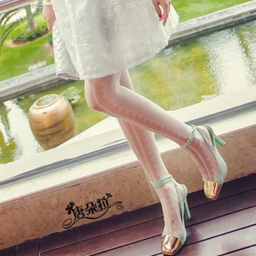 唐朵拉 蕾絲豎條紋薄款絲襪/獨特花紋/連褲襪/美腿超顯瘦/透氣輕薄/貼身褲襪 (288) 2